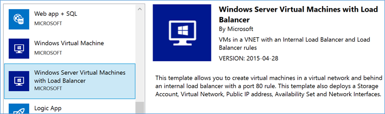 VM with Load Balancer Tempalte