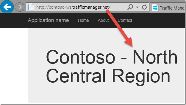 Contoso Traffic Manager North