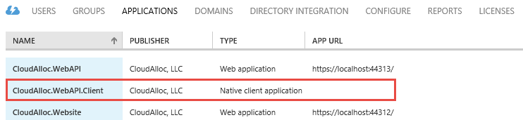 Azure AD applications page