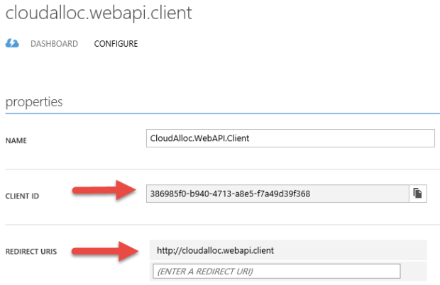 Azure AD application configuration