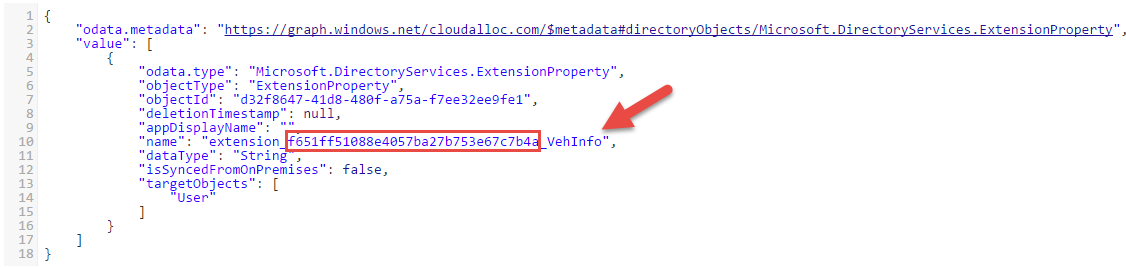 Extension property in Azure AD