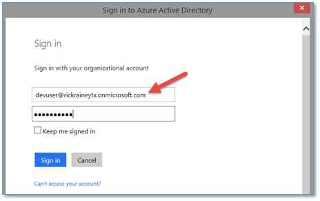 Authenticating with Organizational Accounts and Azure Active